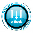 Stock Photo: E-book blue circle glossy icon