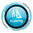 Stock Photo: E-learning blue circle glossy icon