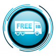Stock Photo: Free delivery blue circle glossy icon