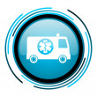 Stock Photo: Ambulance blue circle glossy icon
