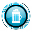 Beer blue circle glossy icon — Stock Photo #25597469