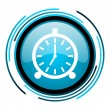 Alarm clock blue circle glossy icon — Stock Photo