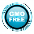 Stock Photo: Gmo free blue circle glossy icon