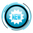 Stock Photo: New blue circle glossy icon