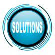 Stock Photo: Solutions blue circle glossy icon