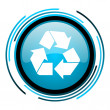 Stock Photo: Recycle blue circle glossy icon