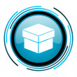 Stock Photo: Box blue circle glossy icon