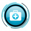 Stock Photo: First aid kit blue circle glossy icon