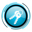 Stock Photo: Keys blue circle glossy icon