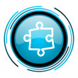 Stock Photo: Puzzle blue circle glossy icon