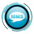 Mms blue circle glossy icon — Foto de stock #25598881