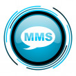 Mms blue circle glossy icon — Foto Stock #25598881