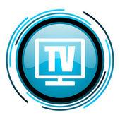Tv blue circle glossy icon — Stock Photo
