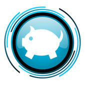 Piggy bank blue circle glossy icon — Stock Photo