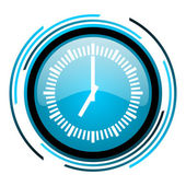 Clock blue circle glossy icon — Stock Photo