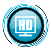Hd display blue circle glossy icon — Stock Photo