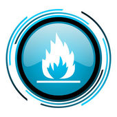 Flames blue circle glossy icon — Stock Photo
