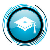Graduation blue circle glossy icon — Stock Photo