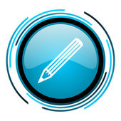 Pencil blue circle glossy icon — Stock Photo