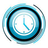 Clock blue circle glossy icon — Stock Photo