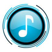 Müzik blue circle parlak simgesi — Stok fotoğraf