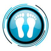 Icono brillante huella círculo azul — Foto de Stock