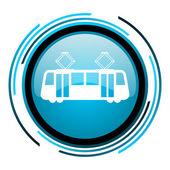 Icona di lucido blu cerchio del tram — Foto Stock