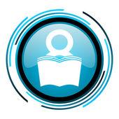 Book blue circle glossy icon — Stock Photo