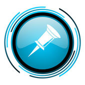 Pin blue circle glossy icon — Stock Photo