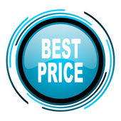 Best price blue circle glossy icon — Stock Photo