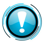Exclamation sign blue circle glossy icon — Stock Photo