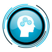 Head blue circle glossy icon — Stock Photo