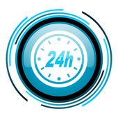 24h blauer kreis glossy ii — Stockfoto