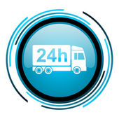Delivery 24h blue circle glossy icon — Stock Photo