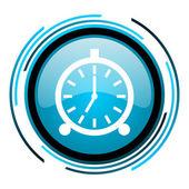 Alarm clock blue circle glossy icon — Stock Photo