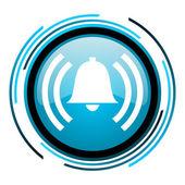 Будильник синий круг глянцевый значок — Стоковое фото