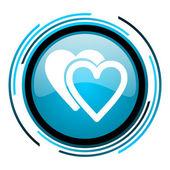 Love blue circle glossy icon — Stock Photo