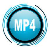 Mp4 blue circle glossy icon — Stock Photo
