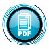 синий круг глянцевый значка pdf — Стоковое фото