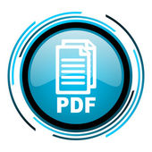 Pdf のブルーの円の光沢のあるアイコン — ストック写真