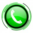 Phone green circle glossy icon — Stock Photo