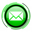 Mail green circle glossy icon — Stok fotoğraf