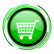 Stock Photo: Shopping cart green circle glossy icon