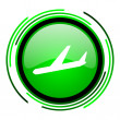 Plane green circle glossy icon — Stock Photo #25642705