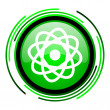 Stock Photo: Atom green circle glossy icon