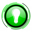 Light bulb green circle glossy icon — Foto Stock