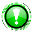 Exclamation sign green circle glossy icon — Stock Photo #25643235