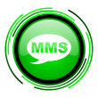 Mms green circle glossy icon — Foto de stock #25643475