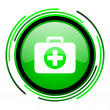 First aid kit green circle glossy icon — Stock Photo