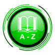 Dictionary green circle glossy icon — Stock Photo